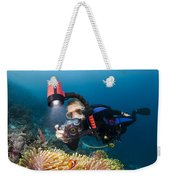 Diver And Anenome Fish Weekender Tote Bag