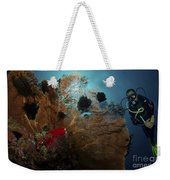 Diver And Sea Fan At Liberty Wreck Weekender Tote Bag