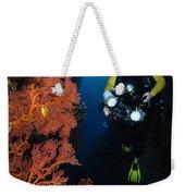 Diver And Sea Fans, Fiji Weekender Tote Bag