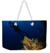 Diver And Soft Coral, Fiji Weekender Tote Bag