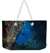 Diver At Boo Windows In Raja Ampat Weekender Tote Bag