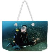 Diver Collects Invasive Lionfish Weekender Tote Bag