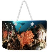 Diver Explores A Coral Reef Weekender Tote Bag