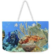 Diver Looks At Scorpionfish Weekender Tote Bag