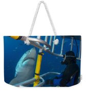 Diver Observes A Male Great White Shark Weekender Tote Bag