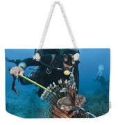 Diver Spears An Invasive Indo-pacific Weekender Tote Bag