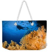 Diver Swimms Above Soft Coral, Fiji Weekender Tote Bag