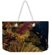 Diver Swims By Soft Corals And Crinoid Weekender Tote Bag