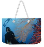 Divers Swimming By Sea Fans, Indonesia Weekender Tote Bag