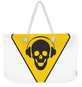Dj Skull On Hazard Triangle Weekender Tote Bag by Pixel Chimp