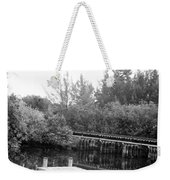 Dock On The River In Black And White Weekender Tote Bag