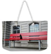 Dog On A Big Red Bench Weekender Tote Bag