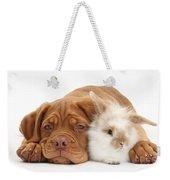 Dogue De Bordeaux Puppy With Bunny Weekender Tote Bag