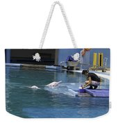 Dolphin And Trainer At The Underwater World In Sentosa In Singap Weekender Tote Bag