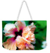 Double Peach Hibiscus Five Weekender Tote Bag