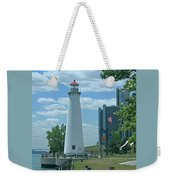 Downtown Detroit Lighthouse Weekender Tote Bag