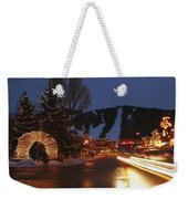 Downtown Jackson Hole At Night Weekender Tote Bag