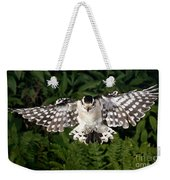 Downy Woodpecker In Flight Weekender Tote Bag