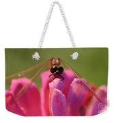 Dragonfly On Pink Flower Weekender Tote Bag