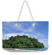 Driftwood On A Tropical Beach Bordered Weekender Tote Bag