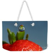 Droplet Falling On A Strawberry Weekender Tote Bag