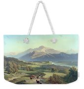Drover On Horseback With His Cattle In A Mountainous Landscape With Schloss Anif Salzburg And Beyond Weekender Tote Bag