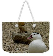 Duck With Rock Sculpture Weekender Tote Bag