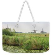 Dutch Landscape With Windmills And Cows Weekender Tote Bag by Carol Groenen
