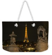 Eiffel Tower And The Seine River From Pont Alexandre At Night Weekender Tote Bag