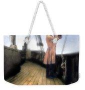 Eighteenth Century Man With Spyglass On Ship Weekender Tote Bag