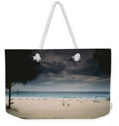 Empty Lounge Chairs Litter A Quiet Weekender Tote Bag