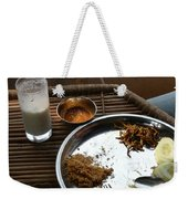 Enjoying A Plate Of Rajasthani Food On A Steel Plate On A Bamboo Table Weekender Tote Bag