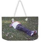 Enjoying A Snooze In A Partially Shaded Green Meadow Weekender Tote Bag