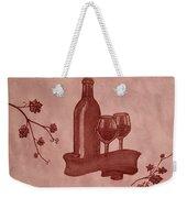 Enjoying Red Wine  Painting With Red Wine Weekender Tote Bag by Georgeta  Blanaru