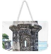 Entrance To Sentry Tower Castillo San Felipe Del Morro Fortress San Juan Puerto Rico Colored Pencil Weekender Tote Bag by Shawn O'Brien