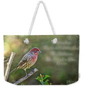 Evening Finch Greeting Card With Verse Weekender Tote Bag