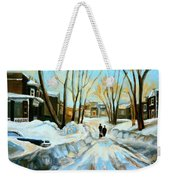 Evening Winter Walk Streets Of Montreal After The Snowstorm Weekender Tote Bag