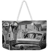 Expired A Black And White Photograph Of A Tavern Parking Meters And Vintage Junk Auto Weekender Tote Bag
