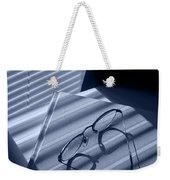 Eye Glasses Book And Venetian Blind In Blue Weekender Tote Bag