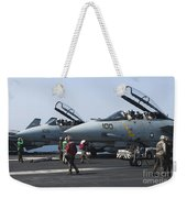 F-14d Tomcats On The Flight Deck Of Uss Weekender Tote Bag