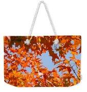 Fall Leaves Art Prints Autumn Red Orange Leaves Blue Sky Weekender Tote Bag