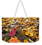 Fall Leaves In Forest Weekender Tote Bag