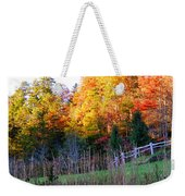 Fall Trees And Fence Weekender Tote Bag