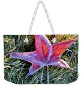 Fallen Autumn Leaf In The Grass During Morning Frost Weekender Tote Bag