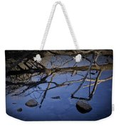 Fallen Tree Trunk With Reflections On The Muskegon Rive Weekender Tote Bag