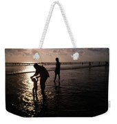 Families Play In A Shallow Lagoon Weekender Tote Bag