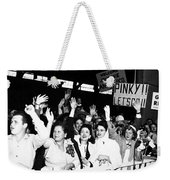 Families Waving And Greeting The Return Weekender Tote Bag
