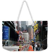 Amidst Color And Construction In Times Square Weekender Tote Bag