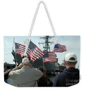 Family Members Wave Flags To Show Weekender Tote Bag