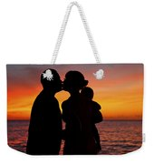 Family Silhouettes At Sunset Weekender Tote Bag